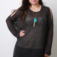 Women's Black Arm Slit Boxy Top in Plus Size