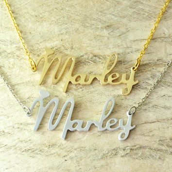 Custom Alloy necklace name necklace new font style Choose any name, personalized jewelry with heart