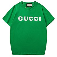 GUCCI tide brand simple wind letter logo printing couple models half-sleeved shirt green