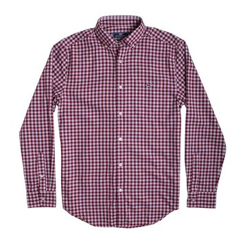 Custom Cliff Gingham Classic Tucker Shirt in Beet Red by Vineyard Vines - FINAL SALE