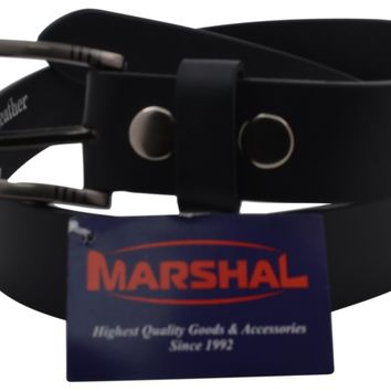 """Casual Belt Men's 1.5"""" Wide Top Grain Genuine Leather Square Silver Buckle by Marshal"""