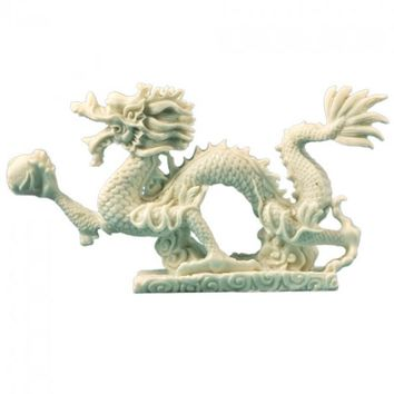 White Chinese Abundance Dragon Statue