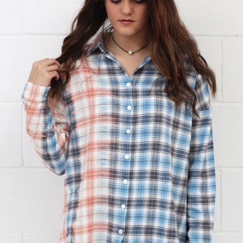 Bleached Out Spring Plaid Flannel {Coral+Blue}