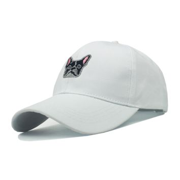 White Dog Embroidered Baseball Cap Hats