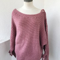 SULLY TIE SLEEVE SWEATER- MAUVE