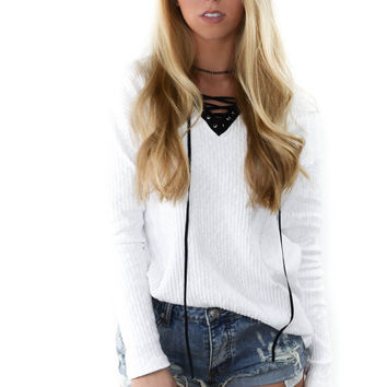 One Dance White Long Sleeve Sweater Top