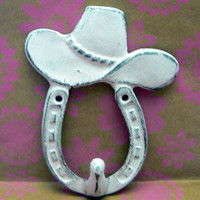 Horse Shoe Cowboy Cowgirl Hat Country Western Wall Hook Cast Iron White Horseshoe Shabby Chic Distressed Scarf Leash Key Jewelry Hook