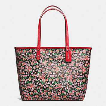 New Coach F57669 Reversible City Tote Posey Cluster Floral Tote Handbag Purse Red