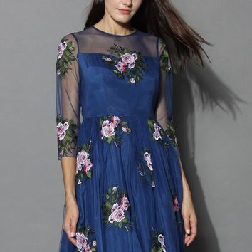 Cherished Rose Embroidered Mesh Dress
