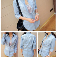 Denim Long-Sleeve Button Collared Jacket With Pockets