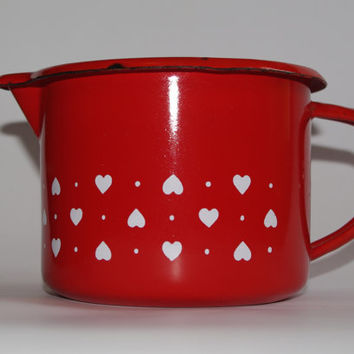 Red Enamel Pitcher, White Hearts, Soviet Enamel Jug, Milk Pitcher, Farmhouse Jug, Serving Pitcher, Metal Kitchenware, Chipped watering can