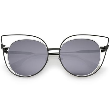Oversize Laser Cut Outline Cat Eye Sunglasses A862