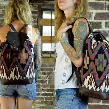 Vintage Southwestern Native Navajo Blanket & Leather Bottom Daypack Backpack