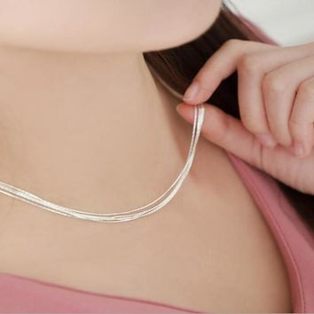 New Korean Version Of The 925 Sterling Silver Superfine Multi-layer Snake Bone Nude Female Bamboo Clavicle Chain Necklace H110