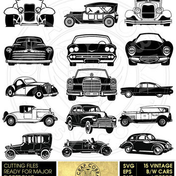 B/W Vintage Cars Clip Art - SVG, eps, dxf, png - Cut Files - Digital Downloads for Silhouette, Cricuit, SCAL die cutting - CV-559