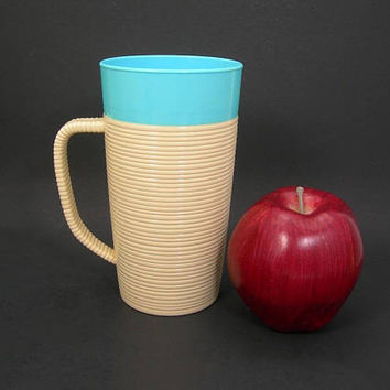 Raffiaware Mug by Thermo-Temp - Beige and Turquoise Blue - Ribbed Sides and Handle - Vintage 1950s Plastic Cup - Holds 16 ounces or 2 Cups