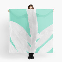 'Green Fern on Ice Mint Green Inverted Silver' Scarf by ANoelleJay