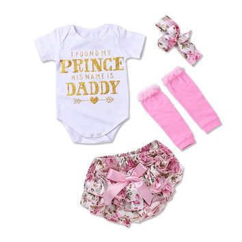 Newborn Baby Clothes Sets 2018 Summer Style Kids Clothes Printing Letter Romper Bow briefs Baby Girls Sets 4Pcs Clothing Suits