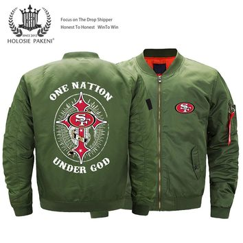 Dropshipping USA Size Unisex MA-1 Jacket  49ERS SF fans Printed Flight Jacket Custom Design Printed Bomber Jacket Men
