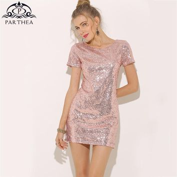 Parthea Short Sleeve Sexy Sequin Dress Pink Metallic Women Party Dress Black Night Club Prom Summer Dress Gold Vestidos 2018 New