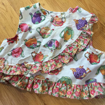 Vintage Baby Top, Girls Cropped Top, Garden Teapots Print, Vintage Kids Clothes, Baby Girls Vintage Top, Vegetables Tea Time Easter Baby 12m