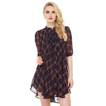 ca DCCKTM4 Plaid Shirt England Style Ruffle One Piece Dress [9108983623]