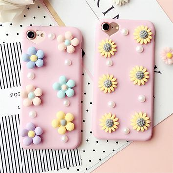 3D Cute Daisy Flower Case For iPhone 6 6s 6s Plus 7 7 Plus Beautiful Pearl Daisy Sunflower Soft TPU Phone Case Shockproof Capa