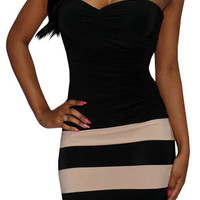 Overload (Black/Beige)-Great Glam is the web's top online shop for trendy clubbin styles, fashionable party dress and bar wear, super hot clubbing clothing, stylish going out shirt, partying clothes, super cute and sexy club fashions, halter and tube tops