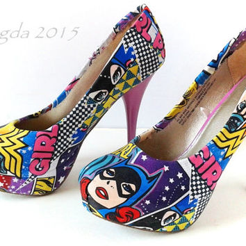Girl Power-Wonder Woman-Batgirl-Supergirl-Comic Book heels-Orchid-Custom shoes-Cosplay-Superhero-DC Comic