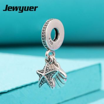 Jewyuer summer collection dangle charms 925 Sterling Silver Tropical Starfish & Sea Shell pendant charms fit Bracelet DIY DA219