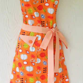 Graphic Fruit Apron, Orange Apron, Women's Full Apron, Vintage Style, Retro Apron, KitschNStyle