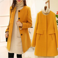 Casual Long Sleeve Quilted Wool Coat