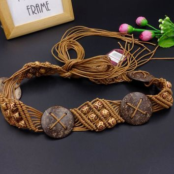 Goowail 2017 vintage Bohemian style Braided belts for women knitted Hollow ladies belt wide decoration fashion female dress