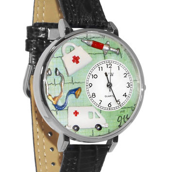 Whimsical Watches Designed Painted EMT Navy Blue Leather And Silvertone Watch