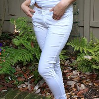 White Colored Skinny Jeans