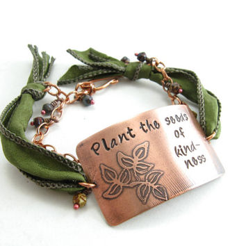 Inspirational Copper Silk Bracelet Plant the Seeds of Kindness Earthy Etched Copper Metal Jewelry Handmade Metal Bracelet Adjustable