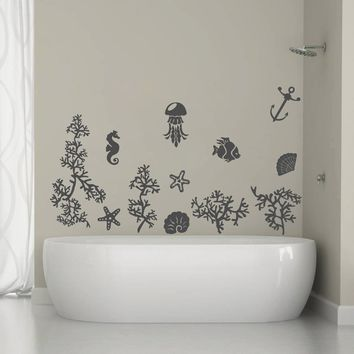 ik1323 Wall Decal Sticker fish coral sea star seahorse jellyfish bathroom