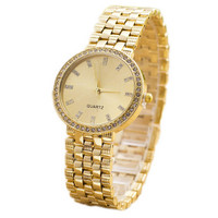 Girls Womens Classic Sport Casual Gold Strap Watch