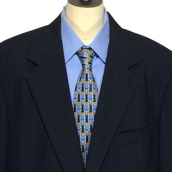 Brooks Brothers USA Blue Striped Suit Jacket Sport Coat Blazer Mens 42 Long 42L - Preowned