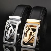 Gold Color Men's Fashion Leather Belts automatic buckle type belt Superman models Waistband = 1946243652