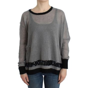 Costume National Gray embellished asymmetric sweater