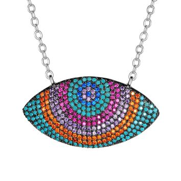 KIVN Fashion Jewelry Spiritual Evil eye Pave CZ Cubic Zirconia Pendant Necklaces for Women