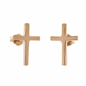 .925 Sterling Silver Cross Rose Gold Ladies and Kids Stud Earrings Upright Vertical