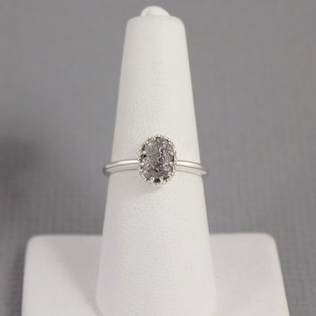Raw Diamond Ring in Crown Style Setting - Sterling Silver - Rough Uncut Conflict Free Diamond - Engagement Rings - April Birthstone Ring