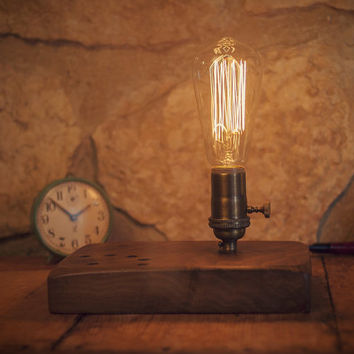 Steampunk reclaimed Wooden  lamp. Penholder Edison Lamp. Vintage lamp, reclaimed wood restored.