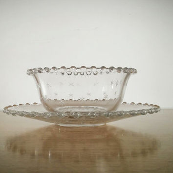 Candlewick Etched Glass Mayo Serving Set, Vintage Etched Imperial Candlewick Bowl and Plate