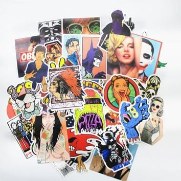 HOT 100 Pcs Stickers Mix Style Funny Cartoon Decal Fridge