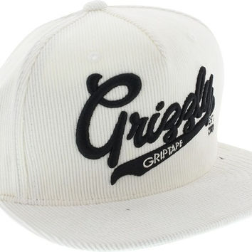 Grizzly Stadium Script Hat Adjustable White/Black