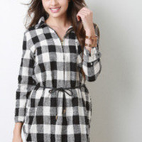 Women's Plaid Linen Shirt Dress - Size L
