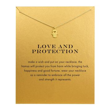 Hot sale Classic good luck fatima hand Necklace Gold Lucky Hamsa Necklace love protection pendant for women girls drop shipping